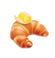 croissant and butter icon realistic vector image