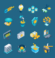 cryptocurrency blockchain isometric icons vector image vector image