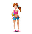 cute beautiful girl play volleyball vector image
