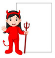 cute devil cartoon with blank sign vector image vector image