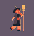 cute girl wearing witch scarecrow costume woman vector image vector image
