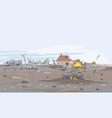 destroyed village landscape background vector image