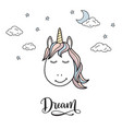 dreaming unicorn vector image