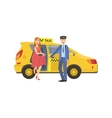 Driver Opening The Door For A Woman To Go Out From vector image vector image