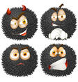 Facial expression on fluffy ball vector image vector image