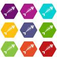 fish bone icon set color hexahedron vector image vector image