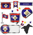 flag athens greece vector image vector image