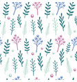 floral pattern with handdrawn flowers and vector image vector image