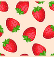 Fresh red strawberries cartoon seamless pattern