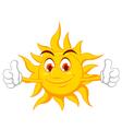 funny sun cartoon thumb up vector image vector image