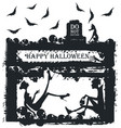 halloween with stylish silhouettes vector image vector image