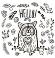 hand drawn cute raccoon hello vector image vector image