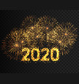 happy new year 2020 golden firework background vector image