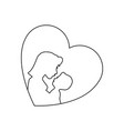 heart with mother and baby icon vector image vector image