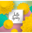 hello spring paper art flower greeting card vector image vector image
