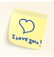 I love you paper note EPS 8 vector image vector image