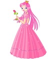 illustration of beautiful pink princess with rose vector image vector image