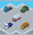 Isometric car set of armored truck lorry and