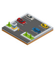 isometric cars in the parking lot or car parking vector image