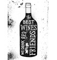 lettering about wine in a dark bottle silhouette