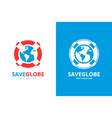 lifebuoy and earth logo combination unique vector image vector image