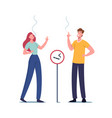 male and female characters smoking cigarettes vector image vector image