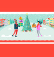 man and woman christmas tree vector image vector image