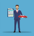 man shows car insurance vector image