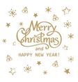 Merry Christmas and Happy New Year golden hand vector image vector image