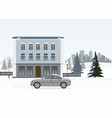 modern cottage with gray car wintertime vector image vector image