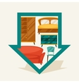 Navigation marker with furniture in retro style vector image vector image