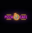 neon pizza cafe emblem logo for pizza restaurant vector image vector image