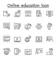 online education icons set in thin line style vector image vector image