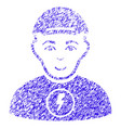 power boy icon grunge watermark vector image