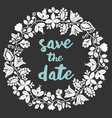 save date with white wreath on black vector image
