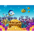 Scene with treassure and fish underwater vector image vector image