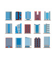 set isolated houses or buildings skyscrapers vector image vector image