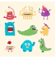 Set of nine stickers with cartoon cute monsters vector image vector image