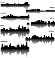 silhouette of australian cities vector image