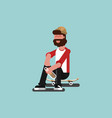 skater siting on his board vector image