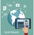 social network media d icon vector image vector image