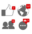 social network notifications icons for your vector image