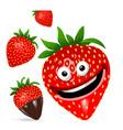 strawberry cartoon character set vector image vector image