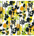 summer meadow seamless pattern black silhouettes vector image vector image