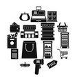 supermarket icons set simple ctyle vector image
