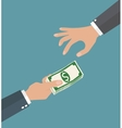 Two businessman hands giving money vector image vector image