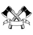 two crossed hatchets with ribbon design element vector image