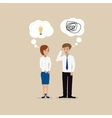 Two people communicate with one another vector image vector image