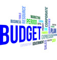 word cloud budget vector image vector image