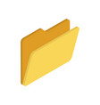 yellow folder icon in isometric style vector image vector image